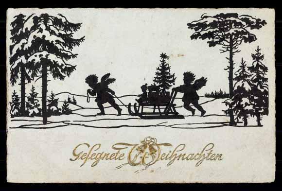 Weihnachten Scherenschnitt.Ansichtskarte Postkarte Weihnachten Engel Schlitten Akpool De