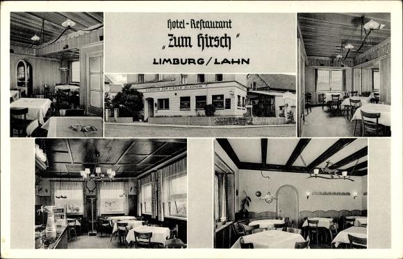 ansichtskarte postkarte limburg an der lahn in hessen hotel restaurant zum hirsch. Black Bedroom Furniture Sets. Home Design Ideas