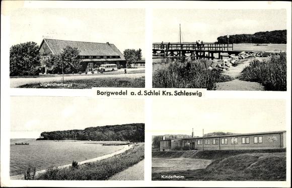 ansichtskarte postkarte borgwedel schleswig holstein jugendherberge steg kinderheim. Black Bedroom Furniture Sets. Home Design Ideas
