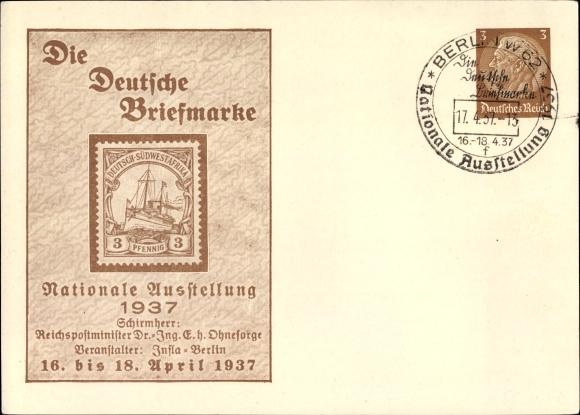 Ganzsache Ansichtskarte Postkarte Berlin Nationale Akpoolde
