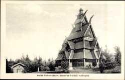 Postcard Gol i Hallingdal Norwegen, Norsk Folkemuseum, Stavkirke, Stabkirche