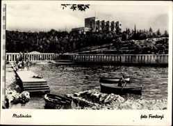 Foto Ak Malinska Dubašnica Kroatien, Freibad, Ruderboote