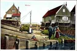 Ak Marken Nordholland, Niederländer, Heutransport mit dem Boot