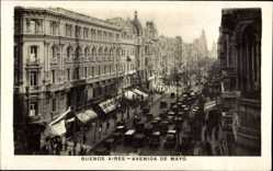 Postcard Buenos Aires Argentinien, Avenida de Mayo, Straßenpartie, Verkehr