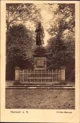 Postcard Marbach am Neckar, Blick auf das Schiller Denkmal, Umzäunung