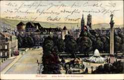 Postcard Stuttgart in Baden Württemberg, Blick auf altes Schloss mit Schlossplatz