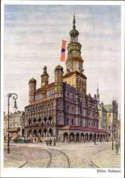 Künstler Ak Poznań Posen, Ansicht vom Rathaus, Fahne, Ratusz
