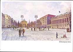 Künstler Ak Poznań Posen, Wilhelmplatz, Passanten, Winter