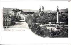 Postcard Stuttgart in Baden Württemberg, Blick auf den Schlossplatz