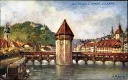 Künstler Ak Lung, L. M., Luzern Stadt Schweiz, Old Bridge and tower, Brücke