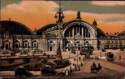Postcard Frankfurt am Main, Partie am Hauptbahnhof, Straßenbahnen, Autos