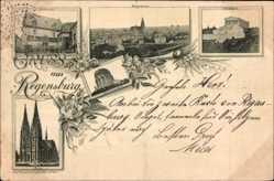 Postcard Regensburg an der Donau Oberpfalz, Rathaus, Walhalla, Dom