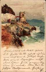 Künstler Litho Wielandt, Manuel, Nervi Genova Genua Liguria, Turm, Meer
