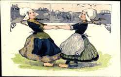 Präge Litho Niederlande, Zwei Mädchen in Trachten tanzen
