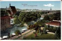 Ak Bydgoszcz Bromberg Westpreußen, Blick von der Danziger Brücke auf den Ort