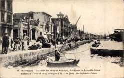 Postcard Saloniki Griechenland, Incendie Août 1917, Quais, Splendid Palace