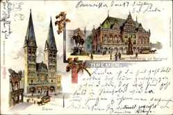 Litho Hansestadt Bremen, Blick auf das Rathaus mit Roland, Dom, Denkmal