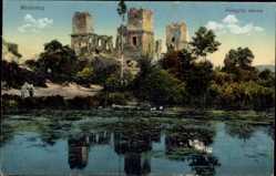 Postcard Miskolcz Ungarn, Diosgyöri varrom, Blick auf eine Ruine, Gewässer