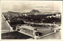 Postcard Athen Griechenland, Blick auf das Stadion und die Akropolis, Treppe, Häuser