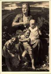 Künstler Ak Stegmann, Richard, In sicherer Hut, HDK 361, Mutter, Kinder