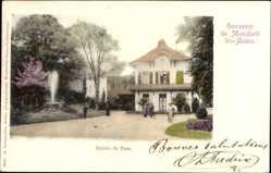 Postcard Mondorf les Bains Luxemburg, Entree du Parc, Parkanlage, Wasserfontäne