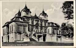 Postcard Ludwigsburg, Blick auf das Schloss Favorite, Treppe, Aufgang, Fenster