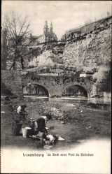 Postcard Luxembourg, Le Bock avec Pont du Stierchen, Brücke, Waschfrauen
