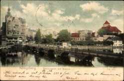 Ak Königsberg Ostpreußen, Schlossteich mit Brücke