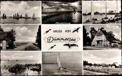 Postcard Dümmer am Dümmersee, Zeltstadt, Niedersachsenhaus, Bauernhaus