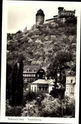 Ansichtskarte / Postkarte Radebeul, Blick auf die Friedenburg, Westansicht, Abhang, Häuser
