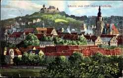 Künstler Ak Bahndorf, Heribert, Coburg, Veste, Glockenturm, Stadtansicht, Dächer