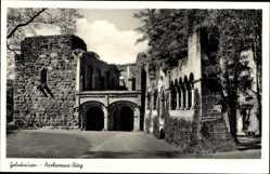 Foto Ak Gelnhausen, Blick auf die Barbarossa Burg, Eingang, Mauerwerk
