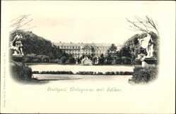 Postcard Stuttgart, Anlagensee, Schloss, Statuen, Bäume, Spazierweg