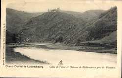 Postcard Luxemburg, Vallée de l'Our de Falkenstein près de Vianden, Burgruine