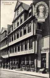 Postcard Frankfurt am Main, Straßenpartie mit Blick auf Goethehaus, Antiquitäten Levy