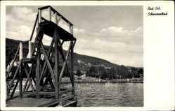 Postcard Bad Orb im Main Kinzig Kreis Hessen, Blick in das Schwimmbad, Sprungturm