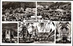 Postcard Amorbach Unterfranken, Panoramen, Abteikirche, Schloßmühle, Kircheninneres