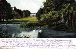 Postcard Bad Homburg vor der Höhe, Blick auf das Kurhaus, Schwäne im Teich