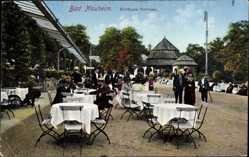 Postcard Bad Nauheim im Wetteraukreis Hessen, Partie auf der Kurhaus Terrasse, Tische