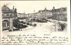 Postcard Frankfurt am Main, Blick auf den Bahnhofsplatz, Pferdewagen