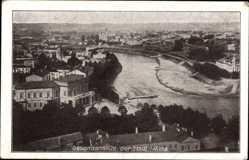 Postcard Vilnius Wilna Litauen, GEsamtansicht der Stadt mit Wilijafluss, Gebäude
