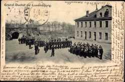 Postcard Luxemburg, Corps des Volontaires, Militärkapelle, Soldaten, Freiwilligenkorps