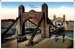 Ak Wrocław Breslau Schlesien, Blick auf die Kaiserbrücke, Straßenbahn
