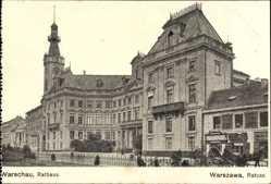 Postcard Warszawa Warschau Polen, Straßenpartie mit Blick auf das Rathaus