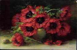Künstler Ak Schütze, W., Mohnblüten in einer Vase, Meissner und Buch 2330