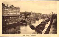 Postcard Neuss in Nordrhein Westfalen, Hafenpartie, Frachter, Uferpartie