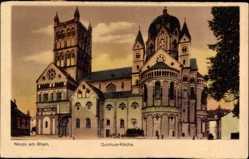 Postcard Neuss in Nordrhein Westfalen, Blick auf Quirinus Kirche, Vorderansicht