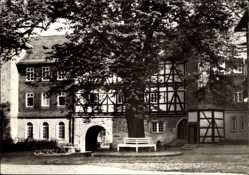 Postcard Stadtlengsfeld im Wartburgkreis, SV Diät Sanatorium, Fachwerkhaus