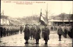 Postcard Setif Algerien, Arrivee a Setif du Drapeau du 7, Regiment de Tivailleurs