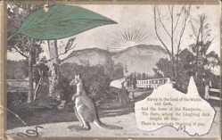 Ansichtskarte / Postkarte Australien, Blick auf Brücke und aufgehende Sonne, Känguru